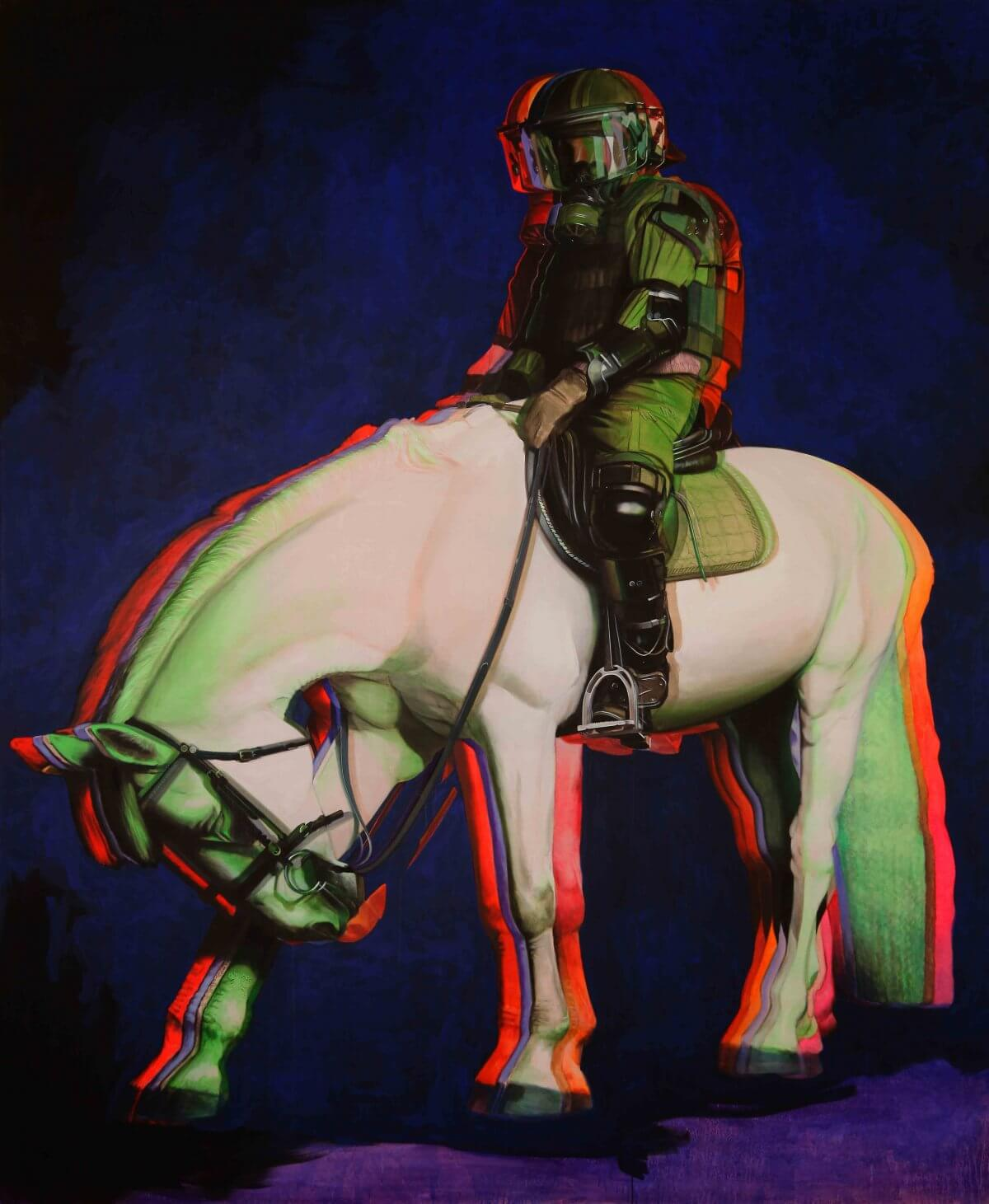 A Men on a horse acryl painting